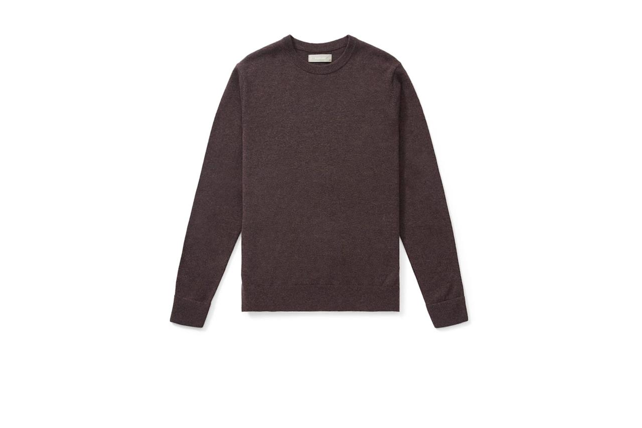 """$130, Everlane. <a href=""""https://www.everlane.com/products/mens-cashmere-crew-heathered-thistle?collection=mens-gift-shop"""">Get it now!</a>"""