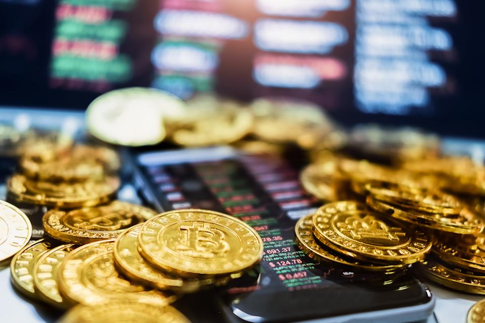 New virtual money concept, Gold Bitcoins ( btc )  is Digital crypto-currency use blockchain Technology for