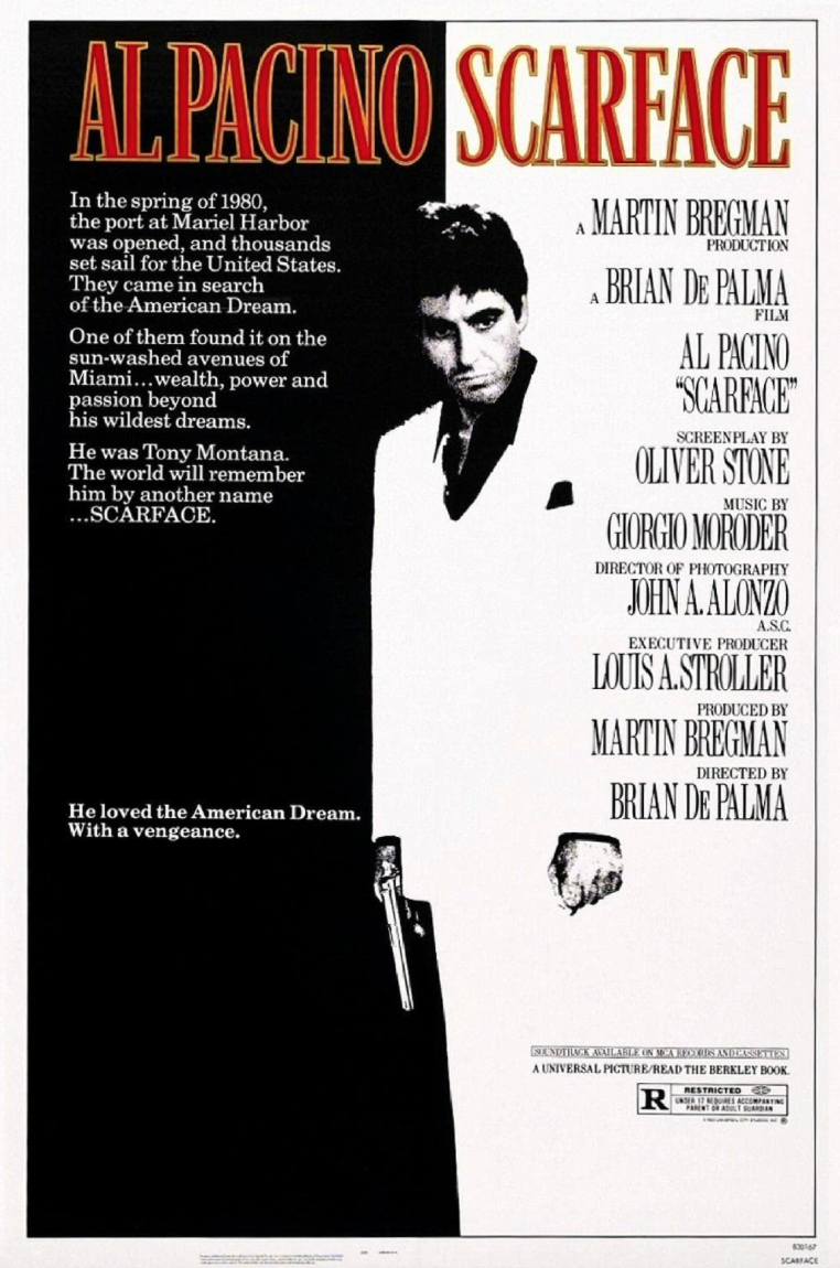 """<p>Perhaps no other gangster film has exerted such a strong influence on pop culture and the collective cinematic imagination as <em>Scarface</em>. A remake of the 1932 movie of the same name, <em>Scarface</em> premiered to shock and anger. It's violent, unforgiving, and depraved. As far as films about a single gangster, it's second to none.</p><p><a class=""""link rapid-noclick-resp"""" href=""""https://www.amazon.com/Scarface-Al-Pacino/dp/B000I543T6/ref=sr_1_1?dchild=1&keywords=Scarface+%281983%29&qid=1619533643&s=instant-video&sr=1-1&tag=syn-yahoo-20&ascsubtag=%5Bartid%7C2139.g.36133257%5Bsrc%7Cyahoo-us"""" rel=""""nofollow noopener"""" target=""""_blank"""" data-ylk=""""slk:STREAM IT HERE"""">STREAM IT HERE</a></p>"""