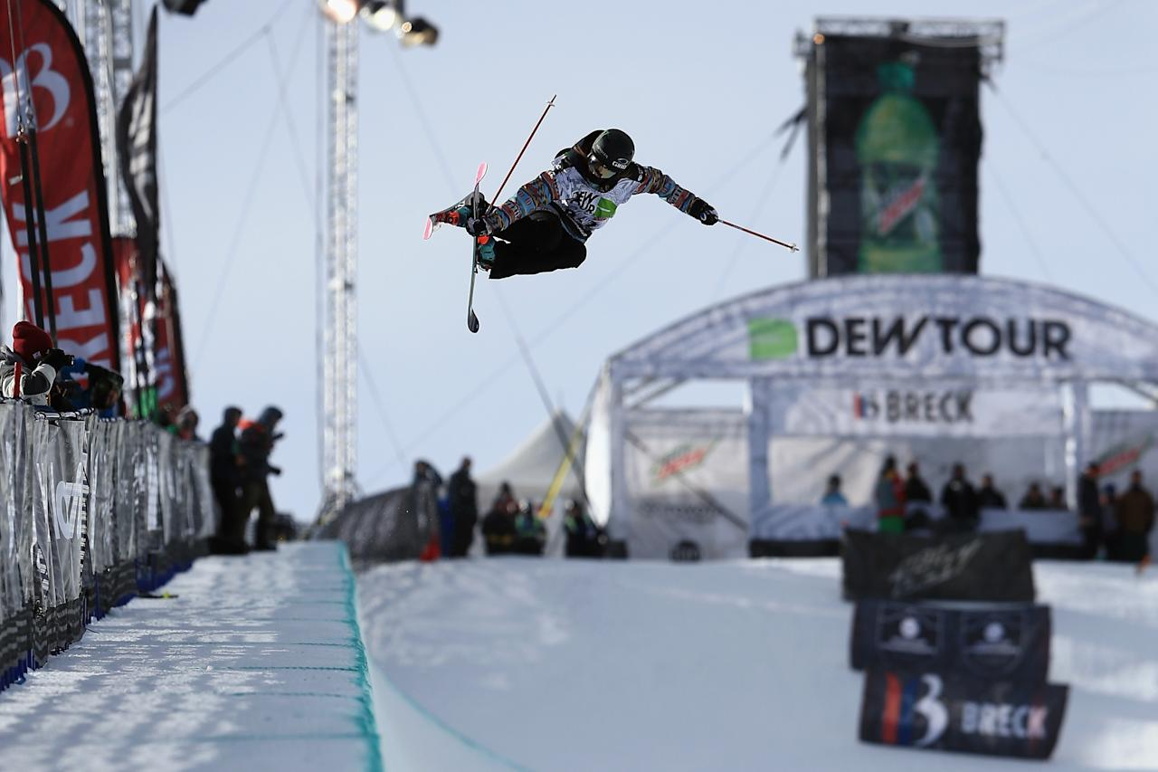 BRECKENRIDGE, CO - DECEMBER 13: Brita Sigourney in action as she finished third in the women's ski superpipe at the Dew Tour iON Mountain Championships on December 13, 2013 in Breckenridge, Colorado. (Photo by Doug Pensinger/Getty Images)