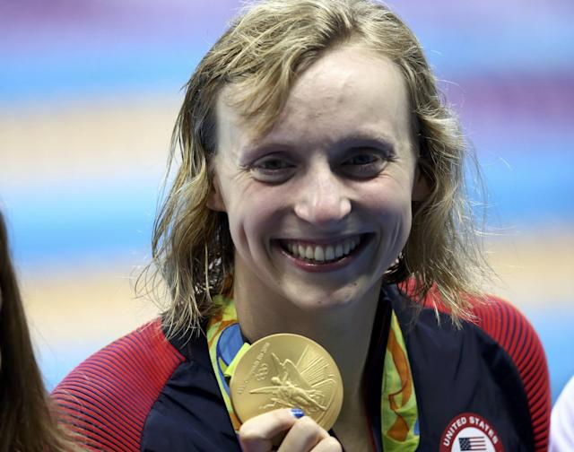"<a class=""link rapid-noclick-resp"" href=""/olympics/rio-2016/a/1119883/"" data-ylk=""slk:Katie Ledecky"">Katie Ledecky</a> poses with her fourth gold medal of the Rio Games. (Reuters)"