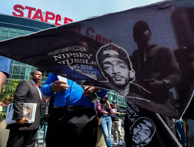 big sale 78c6c fff6a Nipsey Hussle — the rapper and entrepreneur who was fatally shot in Los  Angeles on March 31 — is being honored with a memorial service today at the  Staples ...