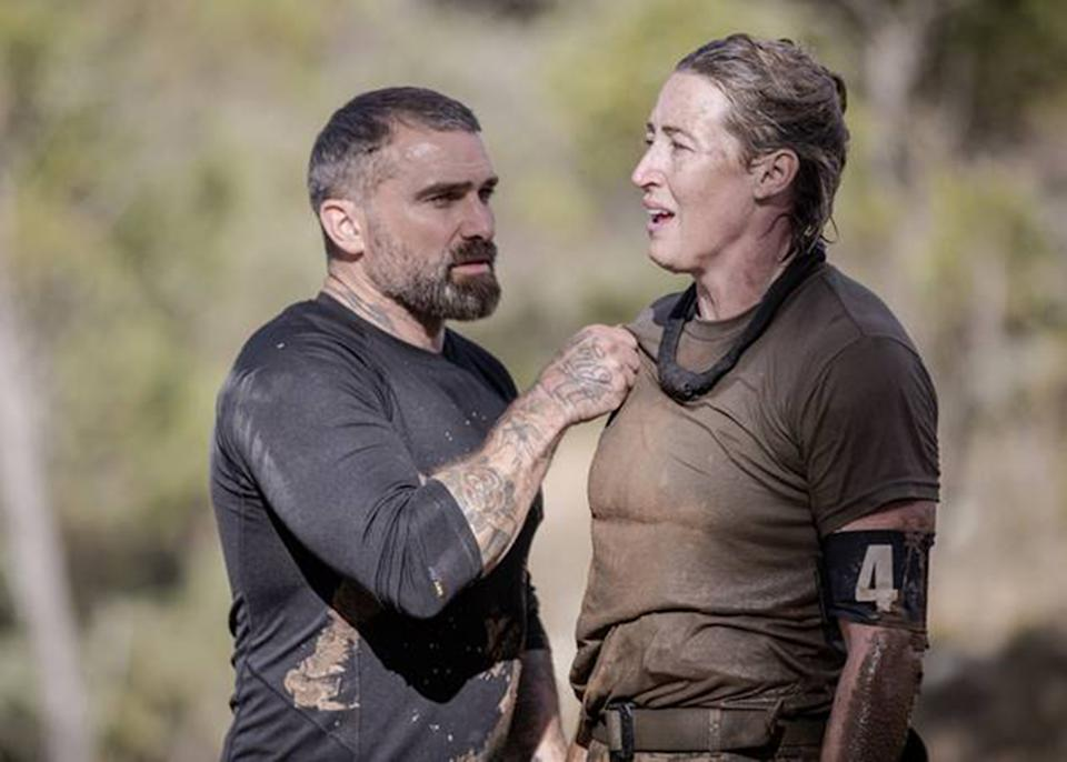 SAS Australia star Jana Pittman collapses and is assisted by instructor Ant Middleton. Photo: Channel 7.