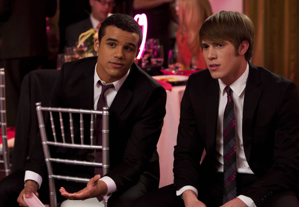 "Jake (Jacob Artist) and Ryder (Blake Jenner) chat in the ""I Do"" episode of ""Glee."""