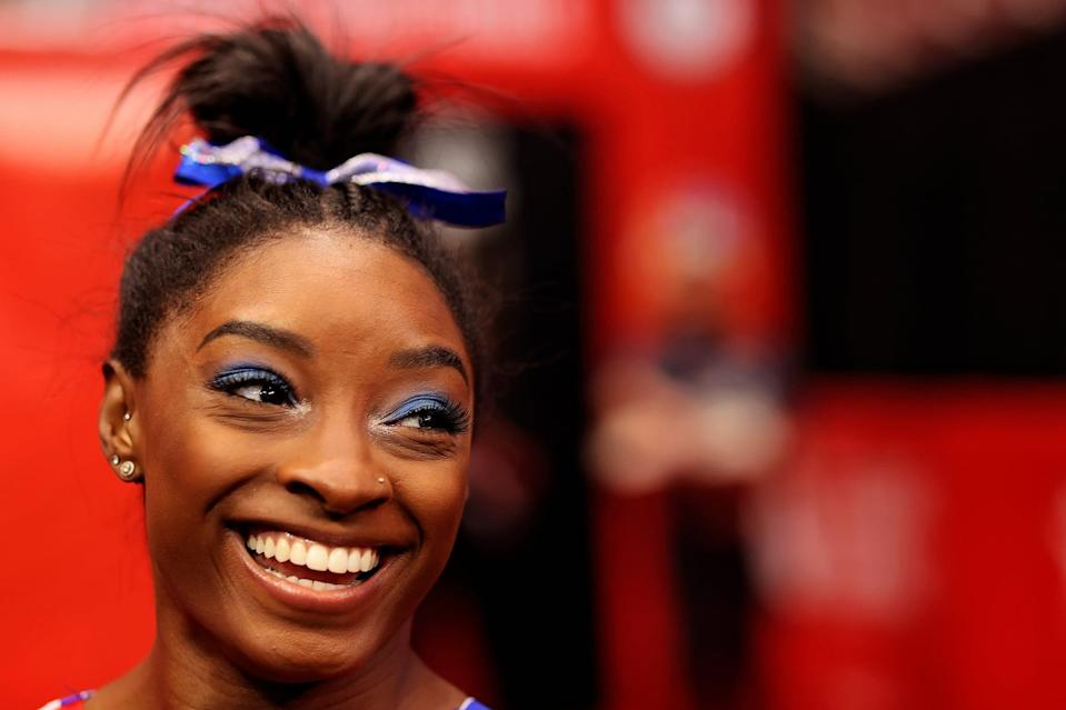 ST LOUIS, MISSOURI - JUNE 25: Simone Biles warms up prior to competition on day 2 of the women's 2021 U.S. Olympic Trials - Gymnastics at America's Center on June 25, 2021 in St Louis, Missouri. (Photo by Carmen Mandato/Getty Images)