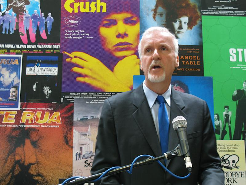 "Director James Cameron announces on Monday, Dec. 16, 2013, in Wellington, New Zealand, that he will shoot three sequels to his 2009 sci-fi blockbuster movie ""Avatar"" in New Zealand. ""Avatar,"" which was shot and made in New Zealand, won three Academy Awards and is the highest-grossing film in history, with an international box office take of nearly $2.8 billion. (AP Photo/Nick Perry)"