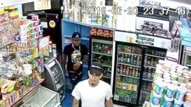 PHOTO: Police release a video surveillance showing two men in the white and black T-shirt as part of a group of men who allegedly hacked Lesandro Guzman-Feliz, 15, with a knife to death in the Bronx on June, 2018. (Chief Terence Monahan/NYPDChiefofDept)