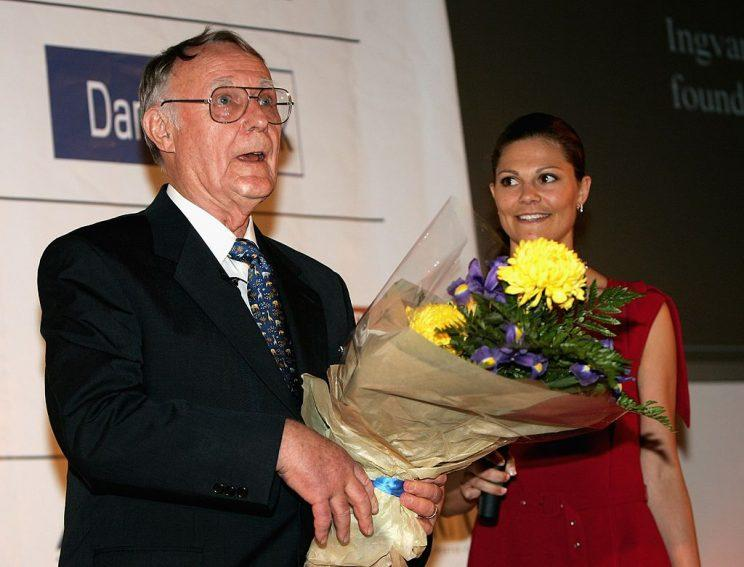 LONDON - MAY 12: Ingvar Kamprad, founder of IKEA, is seen after being presented the Lifetime Achievment Award by Princess Victoria of Sweden at the Swedish Chamber of Commerce Centenery Celebrations on May 12, 2006 in London, England. (Photo by Chris Jackson/Getty Images)
