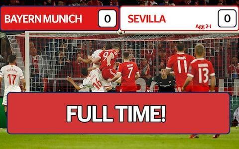 "A goalless draw against Sevilla on Wednesday night was enough to send Bayern Munich into the Champions League last four with a 2-1 aggregate victory to keep their hopes of a treble-winning season alive. Bayern, playing in their seventh straight Champions League quarter-final, never needed to hit top form but were in control throughout with the largely toothless Spaniards only rarely venturing into their opponents' box. The Germans, who last won the treble in 2013, again under coach Jupp Heynckes, had secured a 2-1 advantage from last week's first leg and advanced after having been eliminated by a Spanish team in each of the past four seasons. Sevilla ended the game with 10 men after the dismissal in stoppage time of Joaquin Correa for a rough challenge on Javi Martinez. The result, however, meant Sevilla, in the last eight of the European Cup for the first time since their only previous appearance at this stage 60 years ago, still managed to snap Heynckes' 12-game record winning run in the competition. ""Sevilla have a good team and they proved it,"" Bayern winger Arjen Robben said. ""But we had enough chances and we should have scored. Defensively everything has to work in the Champions League and it did for us tonight. ""In the Champions League you always have to bring your top performance and we will need to improve, that's clear."" In a physical first half, Bayern, fresh from securing the Bundesliga title last weekend, were by far the more dangerous team with Robert Lewandowski and Franck Ribery coming close. Poland forward Lewandowski, who was sporting a swollen eye after some robust defending, also narrowly headed wide four minutes after the restart. Sevilla at times looked to be lacking a sense of urgency and were badly let down by their final pass, stumbling time and again at the edge of the box and failing to get a shot on target in the entire first half. ""We are a bit upset,"" said Sevilla captain Sergio Escudero. ""We came here, tried, believed in the comeback but it was not to be. ""In the first half, we had chances. Maybe we could have scored and changed the tie. We go home upset."" They did hit the bar with a Correa header on the hour and Ever Banega fired narrowly wide a little later as they upped the pressure briefly in search of the two goals they needed. As Sevilla ran out of ideas, the match ended with a touch of uproar as Correa was shown a straight red card for a poor and late challenge on Martinez. Bayern, though, having won 20 of their last 21 Champions League matches at home going into the game, could once again celebrate a familiar last-four ticket with a degree of comfort. 9:44PM Key stats Average touch positions (full time) Possession: FC Bayern vs Sevilla FC Bayern vs Sevilla shots on goal 9:40PM BAYERN MUNICH REACH THE SEMI-FINAL! That's it! The referee blows his final whistle! 9:39PM RED CARD! Correa goes into a challenge on the touchline, catches Martinez and the staff all go nuts. Collum decides it's a red card - it's NEVER a red card - and now the atmosphere has turned. Montella is acting like a lunatic on the sidelines. 9:37PM 90 mins +2 Wagner wants a penalty. It'd be harsh as a foul, let alone a penalty, considering it took place outside the area. And suddenly it's all kicking off on the sidelines! What's happened here?! 9:33PM 89 mins Bayern are still winning the ball high up the pitch but choosing not to attack. It's all about possession and seeing the game out. FC Bayern vs Sevilla shots on goal 9:32PM 87 mins Credit: REUTERS And now Rafinha is taken off for Niklas Sule, the incredibly talented young centre-back. Bayern just want to get the job done, which makes sense since all the other European giants have been throwing away first leg leads over the last day or so. 9:30PM 86 mins Wagner tries to stop a quick free-kick being taken and goes down under Nolito's strong arm. The referee lets Sevilla retake the kick, which is a good decision. Sevilla players are starting to get a little wound up now. Rafinha has decided he needs to sit down for a mysterious, and clearly very serious, injury. 9:27PM 83 mins Martinez goes down holding his face from what looked like a fairly innocuous challenge. Banega's reached his hand out while turning sharply and gently caught the Bayern man with his fingers. Booking! How?! Another dreadful decision by Willie Collum. We get him every week in Scotland. 9:25PM 81 mins James swings a corner out and Sevilla head it away. Here comes another forward! Vasquez off, Nolito - ex of Man City - on. They're throwing everything they've got at it now. 9:23PM 78 mins Nzonzi is, of course, already on a yellow card. That would have been red. And Nzonzi has just punted a shot miles over the bar as the Sevilla high press wins them the ball. Lewandowski is being taken off for Wagner. Presumably, Lewandowski will now be placed in one of those flotation tanks like Luke Skywalker goes in in Empire, having been kicked, bounced, knocked, and generally bashed all night. 9:21PM 75 mins FC Bayern vs Sevilla shots on goal Robben is still working hard defensively, Sevilla beginning to find space out wide. Banega swings a corner in, it's headed away and Nzonzi, who is on a yellow absolutely launches into a tackle from behind on James. It's about as clear a yellow card as you will ever see. Willie Collum decides to let it go. 9:17PM 72 mins Ribery is off for Thiago, which will mean either a change of shape or Muller moving out to the left or right. Sandro comes on for Sarabia. Sevilla have 20 minutes! ROBBEN HAS CUT ONTO HIS RIGHT! Wow. This is something else. He completely fools the full-back and wins space to cross but shoots into the side-netting instead. 9:14PM 69 mins Here comes Thiago. Ribery wins a corner and has a laugh with Navas as they disagree over who it came off last. Nothing really comes of the corner and Sevilla look to build from the back. Bayern's high press stops that happening. 9:10PM 66 mins Credit: REUTERS Muriel comes on for Ben Yedder. 9:09PM 64 mins Robben is on the right and.... and... and.... AND>>>>>>>>>> HE CUTS ONTO HIS LEFT FOOT but keeps going all the way along the box and runs out of options. He's so one footed he opts for a chipped pass to his right and James cuts onto his left, looks for space to shoot but Sevilla get in the way and block. Lewandowski is getting kicked to bits tonight. I can't tell if Sevilla are targeting him or he's just a natural victim of going into so many challenges. 9:07PM 62 mins Kimmich has been excellent on the Bayern right tonight. Weirdly, Navas has been brilliant too! He should have been a right-back all along. FC Bayern vs Sevilla shots on goal 9:05PM 60 mins Possession: FC Bayern vs Sevilla Wow, in other news, Juventus have just gone 3-0 up against Real Madrid! And Sevilla hit the crossbar! Bayern can relax as Correa heads a free-kick from wide right towards the top corner but it just doesn't drop in time. Banega tries a shot from distance but drags it wide. Another decent effort. 9:02PM 57 mins The referee has to sort out a bit of nonsense between Martinez and Banega as the latter bumps the former while picking the ball up for a free-kick. Children, behave. Robben runs down the right and then... AND THEN... HE CUTS ONTO HIS LEFT, waits a bit and finds Kimmich on the right. His cross is caught by the goalkeeper. James puts in the best tackle of the night, sliding in and winning it near the halfway line. Bayern beginning to turn up the pressure. 8:59PM 54 mins Credit: BONGARTS Bayern have gone up a gear and are moving the ball around with speed and purpose in the Sevilla half. Ribery is still doing that thing he does where he runs at goal, keeps the ball close and then does nothing with it. 8:57PM 52 mins Ben Yedder is in! It's a great counter from Sevilla, Yedder steps inside his man and can shoot here! The defender comes across and Yedder's leg gets caught between his. The referee blows for a free-kick to Bayern. 8:56PM 51 mins There's a bit more speed to Bayern's attacking play now. Rafinha overlaps on the left and drifts a cross to the back post... LEWANDOWSKI MEETS IT! But he heads wide, clipping the side netting. Bayern have a corner, Robben gets it short and chips to the back post... but the goalkeeper catches Rafinha's cross. 8:53PM 48 mins Sevilla launch it long from the restart, Bayern come forward and Martinez tries an ambitious shot from distance. It's way over. Still a bit of a flat atmosphere in the Allianz. Sevilla work passes around the final third, Correa runs into the box onto a pass into space... and he looks for a penalty, falling to the ground. Booooooooo! 8:50PM KICK OFF 2 bayern kick off 2 We're back! No changes by either side, Bayern are 45 minutes away from the semi-finals. 8:36PM Average positions Average touch positions (half time) You can see how Sevilla are trying to work the ball in a compact shape while Bayern are looking for forward passes in that graphic. Sevilla have been decent so far but they need two goals. It's not enough at the moment. Possession: FC Bayern vs Sevilla 8:34PM HALF TIME Credit: GETTY IMAGES No goals yet, both sides have gone close and the referee - Willie Collum, ladies and gentlemen - has had a really good game. 8:31PM 45 mins +2 Mistake! Sevilla are in! Sarabia is played in by a genius little pass from Yedder on the edge of the box and Rafinha flies in to block. He's taken a real knock to his shoulder or collar bone and looks in a bit of pain here. He's up on his feet but might not come back for the second half. And I know that because I once met a doctor. 8:28PM 44 mins Free-kick for Bayern wide left about 30 yards from goal. James swings it in... the goalkeeper collects. Bayern have stepped up their defensive game and are pressing higher up the pitch. Sevilla's passing is being broken up as a result and they're making mistakes in their own half. 8:26PM 42 mins More top defending, even if it is last-ditch, by Sevilla. Bayern have space on the right and Lewandowski peels off at the back post waiting for the low cross. It comes... but just as the striker is about to tap in, Navas stretches and slides in to put it behind. 8:25PM 40 mins WHAT A SAVE BY SORIA! Ribery is sharp, controls the ball well and completely bins Lenglet on the edge of the area. He can shoot... another dummy... and then he lashes at the shot but hits it down the middle. It swerves in the air and the goalkeeper is equal to it. And that's a brilliant pass! Robben is played in with an absolutely ridiculous switched pass into his feet. He runs at goal, CUTS ONTO HIS LEFT and tries a little reverse pass into the box but the defender reads it and blocks. Superb defending. 8:22PM 37 mins Hummels has the ball on the right of the Sevilla box, moves it onto his left and sends a bullet of a shot flying at goal. Just over the far corner! Miss: FC Bayern ( 34 min ) Lewandowski runs onto a long through-ball between right-back and centre-back but is just offside again. That pass is on from time to time and at some point it'll work. 8:18PM 34 mins Bayern attack, Rafinha crosses from left on his right foot and Lewandowski goes down in the area. It's never a penalty and Robben can't reach the ball when it's nearest him either. Goal kick. It's a fairly tame atmosphere in the Allianz. The crowd are about as chilled as the Bayern players look. 8:16PM 32 mins Possession: FC Bayern vs Sevilla 8:15PM 30 mins Sevilla are really impressive with the ball but just don't seem to know how, or when, to shoot. They create chances, defend well and Bayern clearly respect them after a difficult first leg. Bayern are letting Sevilla keep the ball but I'm not sure that's the actual plan. The back four aren't pleased with the lack of forward pressing. 8:12PM 27 mins Ribery loses control of the ball as he attempts to run through the middle of the Sevilla defence and is blocked out of it. Auf geht's Bayern schießt ein Tor! ⚽️ #FCBSFC#RoadtoKyiv#packmaspic.twitter.com/l3XUGnBlx6— FCB-Fanbetreuung (@FCBayern_FB) April 11, 2018 Sevilla come forward and Bayern drop back. They're waiting for Sevilla to approach the final third before pressing and then hitting them on the counter-attack but the passing has been excellent so far. And all of a sudden Escudero runs in behind and can shoot from inside the box! He drags it wide. 8:08PM 24 mins Kimmich overlaps and sends a low cross into the area but the Sevilla defenders read it and clear at the near post. James runs into a forward position but is just offside as the final ball is played by Lewandowski. Sevilla's offside trap works this time but that was close too. 8:06PM 22 mins Credit: AFP 8:05PM 21 mins Ribery attacks down the left, Navas blocks the cross and it's a corner. Corner Awarded: FC Bayern 0 - 0 Sevilla (Jesús Navas, 19 min) James takes it and a centre-back powers the header away. Bayern come back down the left channel but are forced back. Sevilla doing well to keep the home side quiet at the moment. 8:02PM 18 mins Navas is down the right and sends a fizzing cross into the box. Correa attacks it but doesn't get quite enough on it and then goes in quickly to the 50/50 with Ulreich... and the goalkeeper is fouled. Although, really, when you watch the replay it does seem like Correa plays the ball and it's Ulreich's fault for diving in. They need protection, I guess. 8:00PM 15 mins Bayern move the ball so well. The passing is quick, crisp and smart and they're dragging Sevilla all over the place, switching play with long passes. 7:57PM 13 mins Sevilla pass their way through Bayern's half and the ball is threaded into Sarabia. His first touch is superb! It takes him past the defender and now he can shoot! But he blasts it way over the bar. A dismal effort. That was Sevilla's problem in the first leg, they need to learn how to finish chances. Miss: FC Bayern 0 - 0 Sevilla (Pablo Sarabia, 11 min) 7:55PM 11 mins Willie Collum deserves a bit of praise here early on, he's not letting players earn themselves free-kicks by going down easily and it means the game is flowing. Both sides are at it. Nzonzi leaves a little too much on Lewandowski in a 50/50 and puts his weight on the striker's foot at an awkward ankle. He might have jarred his ankle a wee bit there. Nzonzi is booked, Lewandowski is back on his feet. 7:54PM 9 mins Kimmich gets forward down the right, sends a high cross into the box and Lewandowski is there! He heads at goal but is just a little underneath it and the goalkeeper tips over the bar. Lewandowski has taken a wee knock to the cheek there too. The referee spots a foul - somewhere - in the box and gives Sevilla a free-kick. Credit: BONGARTS Heynces is watching on. His record is insane - 29 wins from 32 games this season. 7:51PM 7 mins Sevilla keep the ball again and pass patiently around their own half. Both teams are sitting pretty deep, Bayern want to counter-attack, Sevilla want to build from the back slowly. Robben - guess what - CUTS INSIDE onto his left foot from wide right and manages to get a shot away. He bends a long-range effort wide of the far post! How does that guy keep skinning people with the same move? It's every single time. They must know! Miss: FC Bayern 0 - 0 Sevilla (Arjen Robben, 5 min) 7:49PM 5 mins Rodriguez shoots from the free-kick but puts it just over the top corner! Great effort. Bayern look dangerous from the start. 7:48PM 3 mins Sevilla are in possession from the start and pass around a bit but suddenly Lewandowski is away! A through-ball is sent ahead of the striker between the centre-backs and he is clean through! But he's been wiped out! That must be a red card... no! The referee says yellow and a free-kick 25 yards out. Big moment early on! 7:45PM KICK OFF Bayerh kick off Here we go! Bayern get us started. Will we see another European shock comeback tonight? 7:44PM WILLIE COLLUM! Oh my word. This game just got twice as good - Willie Collum has made some astonishing decisions in his usual job refereeing in Scotland and he takes charge this evening! Good luck, Willie. 7:42PM The Chaaaaaaaaampions ""These are the chaaaaampions, Bayern Munich, it's football, something something.... the chaaaaaaampions"" 7:35PM Sevilla's pre-match feast Credit: UEFA Sevilla's healthy pre-match supplies. Coincidentally, this is also what we livebloggers must consume before launching into action on the big European nights. 7:32PM Atmosphere is building Credit: BONGARTS This is cool! Check the watch on the left - that's what the referee actually sees when the ball goes over the line for the GLT (goal line technology). Nobody calls it GLT. BLT? Yes please. But not now - there's soccer to watch. 6:43PM Starting lineups Bayern Unsere 1⃣1⃣ gegen Sevilla! #packmas#FCBSFCpic.twitter.com/bpxoDN8WQT— FC Bayern München (@FCBayern) April 11, 2018 Sevilla ONCE del #SevillaFC ante el @FCBayernES en la VUELTA de cuartos de final de la @LigadeCampeones#vamosmisevilla#UCL#FCBSFCpic.twitter.com/5RWZiVN21v— Sevilla Fútbol Club (@SevillaFC) April 11, 2018 6:43PM Hello! Good evening and welcome to our liveblog for tonight's Champions League quarter-final second leg between Bayern Munich and Sevilla. The first one was great fun to watch and this should be no different. Bayern have already won the Bundesliga, while Sevilla can still secure two trophies if they win the Copa del Rey in a couple of weeks and manage to overturn a first leg deficit. Bayern have the big advantage of two away goals, Sevilla have to attack - there will be goals. Surely. Credit: BONGARTS In more disturbing news, strange alien creatures have landed inside the Bayern Munich stadium and are currently preparing their attack of the players using water. More on that when we get it."