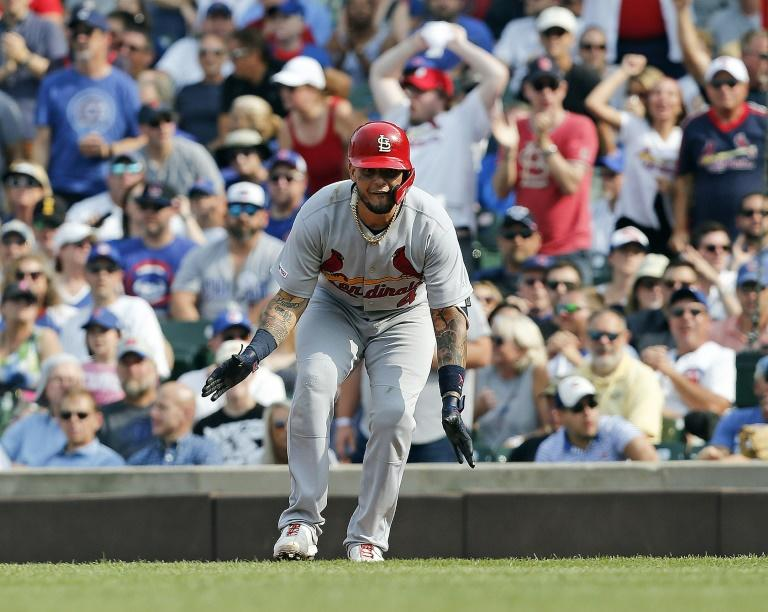 Yadier Molina reacts after his two-run single in the St. Louis Cardinals' 2-1 Major League Baseball victory over the Chicago Cubs