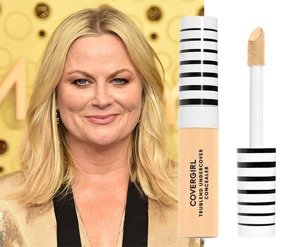"""For the Emmys, Amy Poehler went for a natural, fresh face of all CoverGirl. Her makeup artist Kayleen McAdams used <a href=""""https://shop-links.co/1684920260828350737"""" rel=""""nofollow"""">TruBlend Matte Made Foundation</a>, <a href=""""https://shop-links.co/1684920281972143062"""" rel=""""nofollow"""">TruBlend Undercover Concealer</a>, <a href=""""https://shop-links.co/1684920305033727748"""" rel=""""nofollow"""">TruBlend Super Stunner Hyper-Glow Mono Highlighter in Rose Quartz</a>, and <a href=""""https://shop-links.co/1684920331294081978"""" rel=""""nofollow"""">TruNaked Eye Shadow Palette in Sunsets</a>—all things you could easily wear to work tomorrow."""