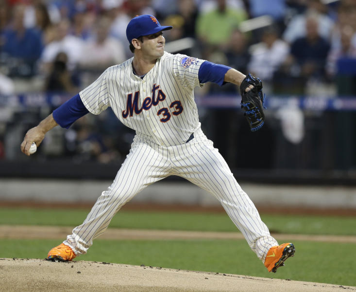 National League's Matt Harvey, of the New York Mets, pitches during the first inning of the MLB All-Star baseball game, on Tuesday, July 16, 2013, in New York. (AP Photo/Kathy Willens)
