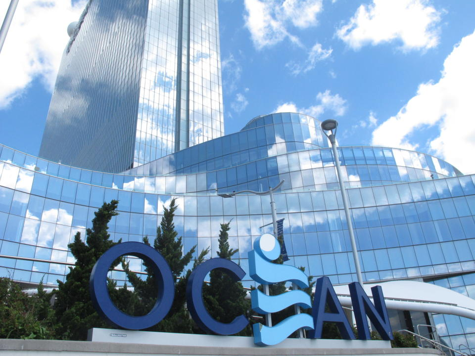 This April 30, 2021 photo shows the exterior of the Ocean Casino Resort in Atlantic City, N.J. Last year, Ocean, the former Revel casino, rose to third place out of nine casinos in terms of the amount of money won from in-person gamblers in Atlantic City. (AP Photo/Wayne Parry)