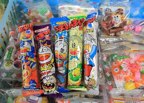 The unique packaging and characters are one reason for Umaibo's popularity – maybe because it resembles the famous Doraemon so much. (10 yen per stick)