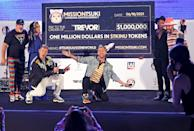 <p>Joey Fatone and Lance Bass of NSYNC and Nick Carter and AJ McLean of Backstreet Boys team up for Bingo Under the Stars in Los Angeles in honor of Pride Month.</p>