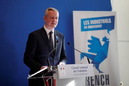 FILE PHOTO: French Finance Minister Bruno Le Maire speaks during a news conference after a National Council of Industry at the Bercy Finance Ministry in Paris, France, February 26, 2018. REUTERS/Benoit Tessier