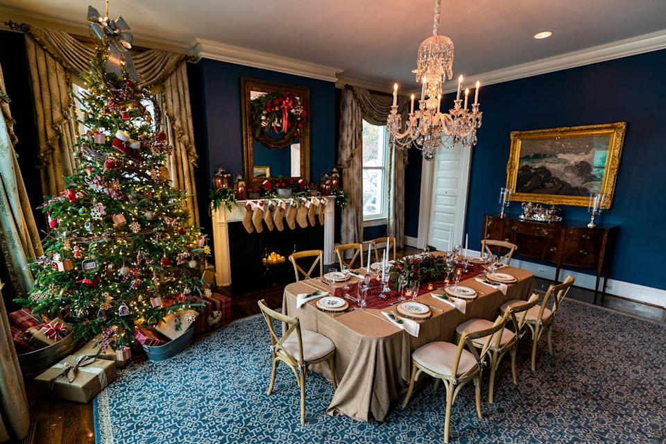 The dining room decorated for Christmas on Nov. 20, 2020.