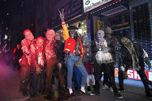 "<p>The queen of Halloween did it again! The <em>America's Got Talent</em> host looked like she walked right out of Michael Jackson's ""Thriller"" video, complete with her gang of zombies. Klum never disappoints at <a href=""https://www.yahoo.com/lifestyle/easy-walk-past-heidi-klum-halloween-party-not-know-costume-054527715.html"" data-ylk=""slk:her annual party;outcm:mb_qualified_link;_E:mb_qualified_link"" class=""link rapid-noclick-resp newsroom-embed-article"">her annual party</a>, which was held this year at the Magic Hour Rooftop Bar in NYC. (Photo: Slaven Vlasic/Getty Images for Heidi Klum) </p>"