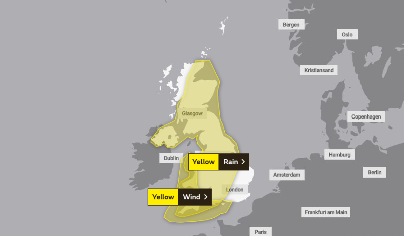 Heavy showers: The Met Office has issued a yellow rain warning covering all of the UK for Friday and Saturday (Met Office)