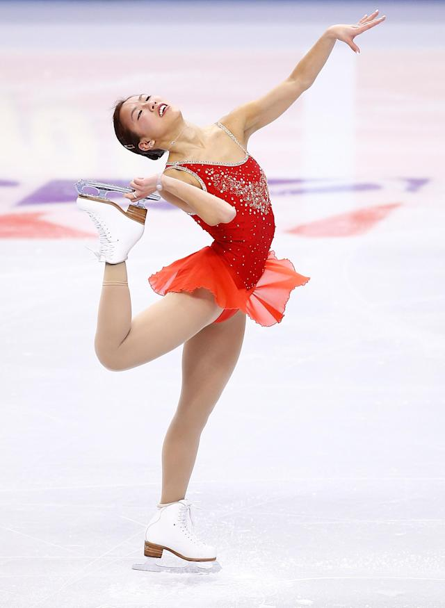 BOSTON, MA - JANUARY 09: Joelle Forte skates in the short program during the 2014 Prudential U.S. Figure Skating Championships at TD Garden on January 9, 2014 in Boston, Massachusetts. (Photo by Jared Wickerham/Getty Images)