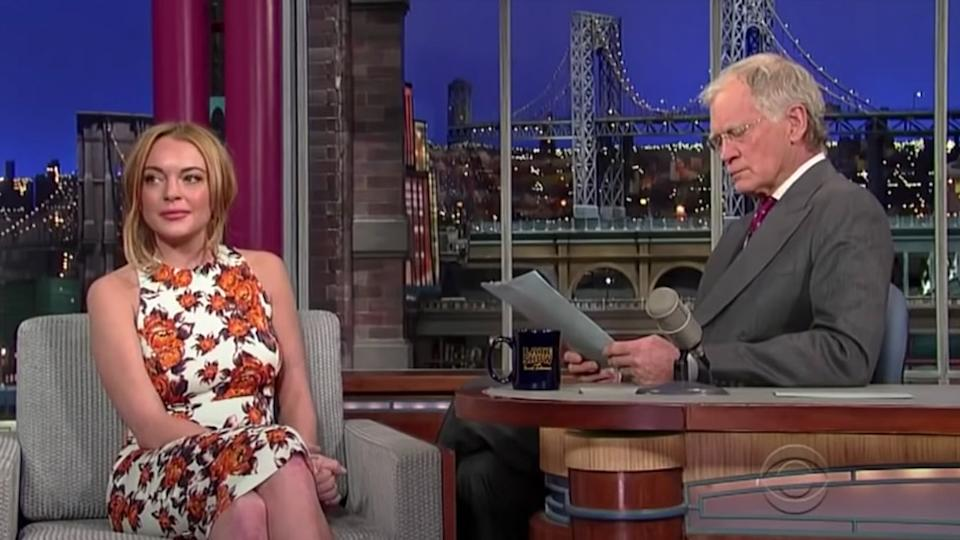 David Letterman is being slammed for a 2013 interview with Lindsay Lohan where he repeatedly asks her about rehab. Photo: CBS