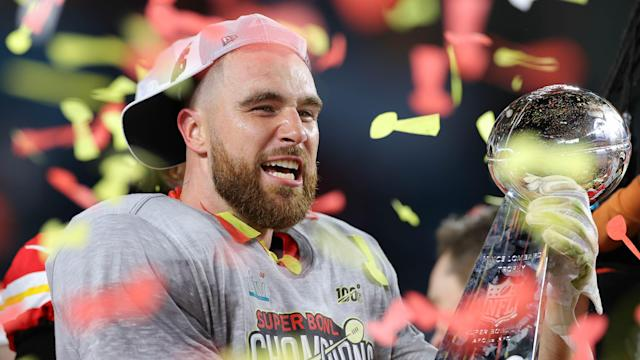 Kansas City Chiefs' Travis Kelce saw his boyhood dream become reality after winning the Super Bowl on Sunday. (Photo by Kevin C. Cox/Getty Images)