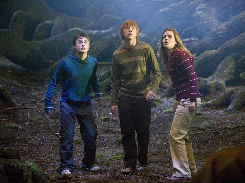 Harry (Daniel Radcliffe), Ron (Rupert Grint) and Hermione (Emma Watson) in 'Prisoner of Azkaban'Warner Bros