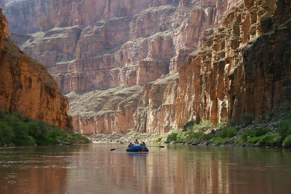 Geologists collected rocks from the canyon by raft. This 2004 picture shows a recreational rafting trip.