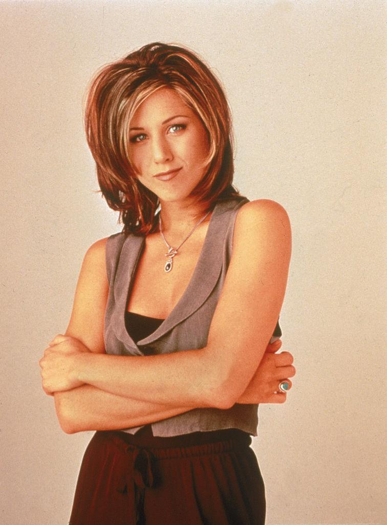 The Rachel style that made Jennifer Aniston a hair icon, pictured in 1995.  (photo by NBC Television/Getty Images)