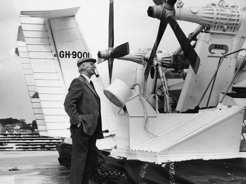 Christopher Cockerell, the inventor of the hovercraft, inspecting the new twin propeller in 1973 (Getty)