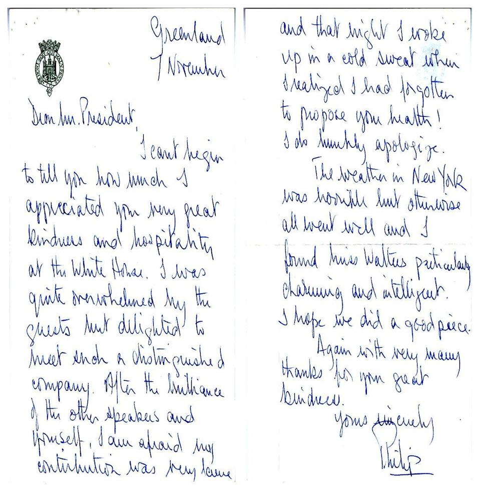 In this image provided by The Richard Nixon Library & Museum, shows two sides of a letter that Prince Philip wrote to President Richard Nixon.