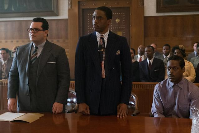 """Josh Gad, Chadwick Boseman and Sterling K. Brown star in """"Marshall."""" (Open Road FIlms)"""