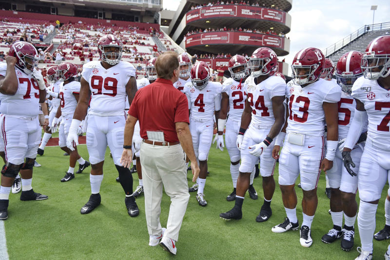 Alabama head coach Nick Saban prepares his team before the start of an NCAA college football game against South Carolina Saturday, Sept. 14, 2019, in Columbia, S.C. (AP Photo/Richard Shiro)