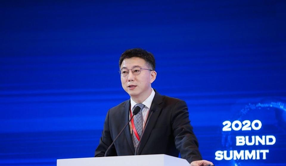 Mu Changchun, the head of the People's Bank of China's research institute for digital currency, at the 2nd Bund Summit. Photo: 2020 Bund Summit