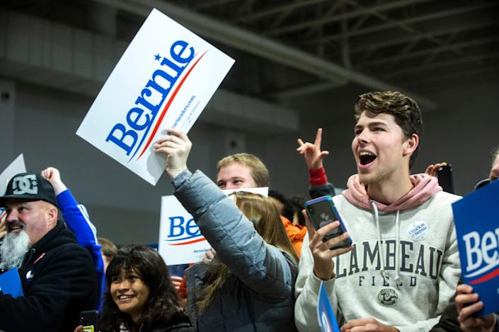 Supporters of Democratic presidential candidate U.S. Sen. Bernie Sanders, I-Vt., cheer during campaign rally, Saturday, Nov., 9, 2019, at the Coralville Mariott Hotel and Conference Center, in Coralville, Iowa.