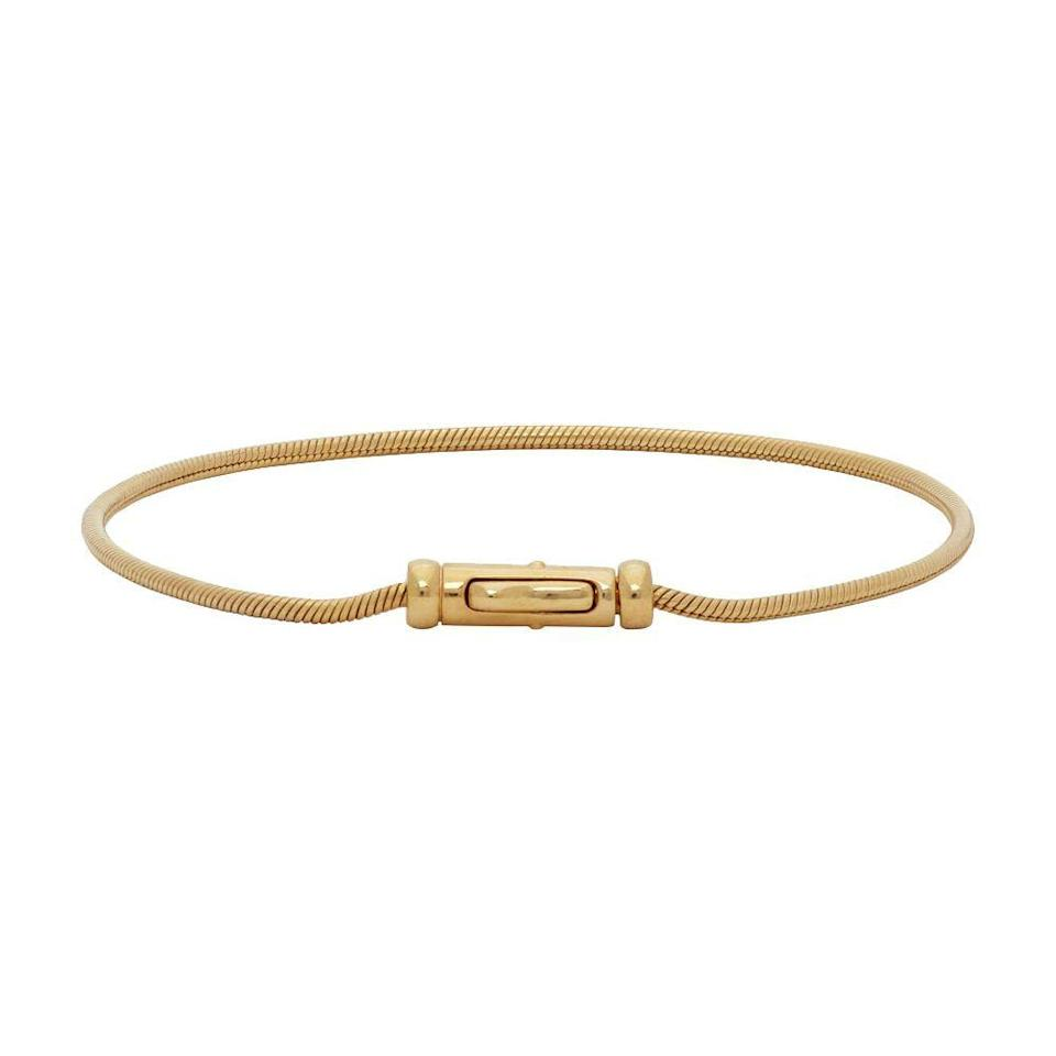 """<p><strong>Tom Wood</strong></p><p>ssense.com</p><p><strong>$155.00</strong></p><p><a href=""""https://go.redirectingat.com?id=74968X1596630&url=https%3A%2F%2Fwww.ssense.com%2Fen-us%2Fmen%2Fproduct%2Ftom-wood%2Fgold-boa-bracelet%2F5659521&sref=https%3A%2F%2Fwww.menshealth.com%2Fstyle%2Fg34330738%2Fbest-mens-bracelets%2F"""" rel=""""nofollow noopener"""" target=""""_blank"""" data-ylk=""""slk:BUY IT HERE"""" class=""""link rapid-noclick-resp"""">BUY IT HERE</a></p><p>The thinness of this gold-plated snake chain gives it cool movement. The overall lightweight nature of this piece makes it an easy and subtle option to enhance a simple look.</p>"""