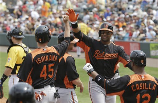 Baltimore Orioles' Chris Dickerson, second from right, is congratulated at home after his grand slam during the first inning of an exhibition spring training baseball game against the Pittsburgh Pirates, Sunday, March 24, 2013, in Bradenton, Fla. (AP Photo/Carlos Osorio)