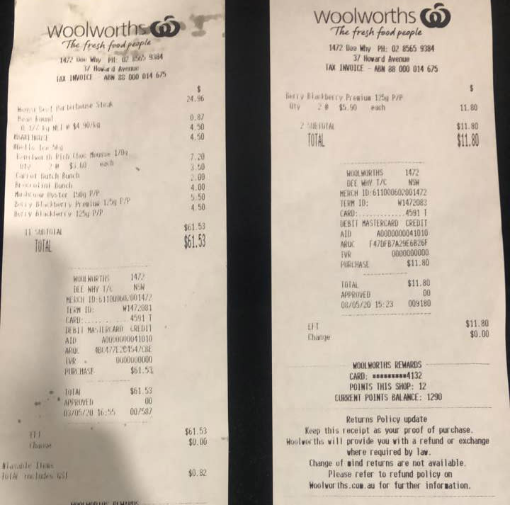 Two Woolworths receipts are pictured.