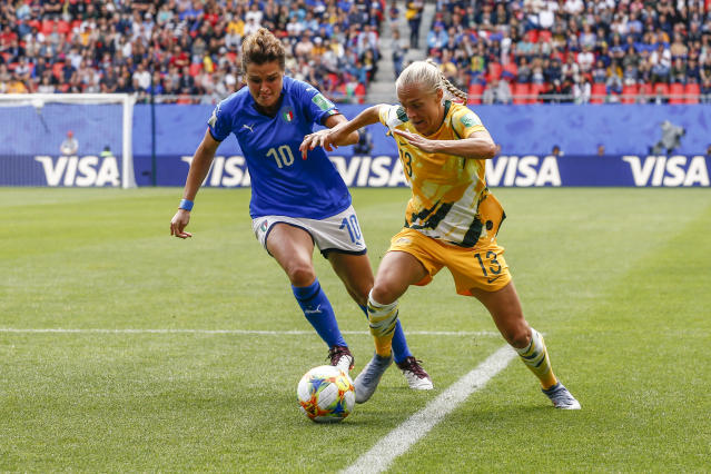 Cristiana Girelli #10 of Italy challenges Tameka Yallop #13 of Australia during the 2019 FIFA Women's World Cup France group C match between Australia and Italy at Stade du Hainaut on June 9, 2019 in Valenciennes, France. (Photo by Catherine Steenkeste/Getty Images)