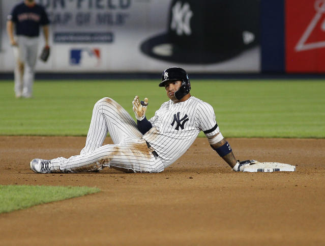 "Aug 3, 2019; Bronx, NY, USA; <a class=""link rapid-noclick-resp"" href=""/mlb/teams/ny-yankees/"" data-ylk=""slk:New York Yankees"">New York Yankees</a> shortstop <a class=""link rapid-noclick-resp"" href=""/mlb/players/10236/"" data-ylk=""slk:Gleyber Torres"">Gleyber Torres</a> (25) reacts after hitting a double against the <a class=""link rapid-noclick-resp"" href=""/mlb/teams/boston/"" data-ylk=""slk:Boston Red Sox"">Boston Red Sox</a> during the seventh inning of game two of a doubleheader at Yankee Stadium. Mandatory Credit: Andy Marlin-USA TODAY Sports"