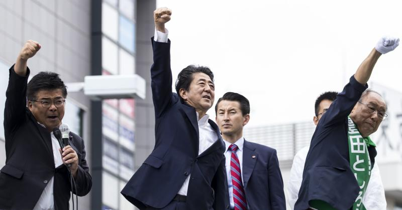 Japan Prime Minister and ruling Liberal Democratic Party President Shinzo Abe at an election campaign rally in Japan.