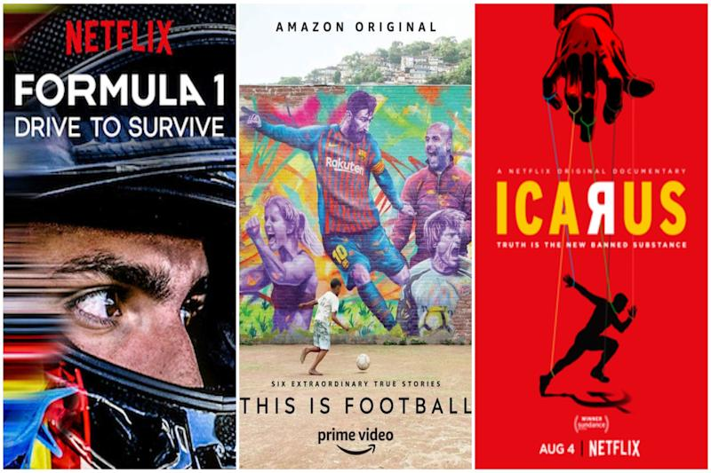 Carteles de 'Formula 1: la emoción de un Grand Prix', 'This is Football' e 'Ícaro'. (Foto: Netflix / Amazon / Netflix).