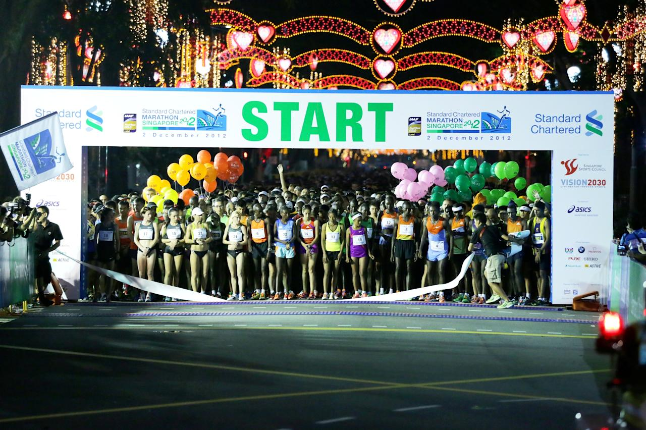 Runners of the Full Marathon getting ready to start the race along Orchard Road. (Photo courtesy of Singapore Sports Council)