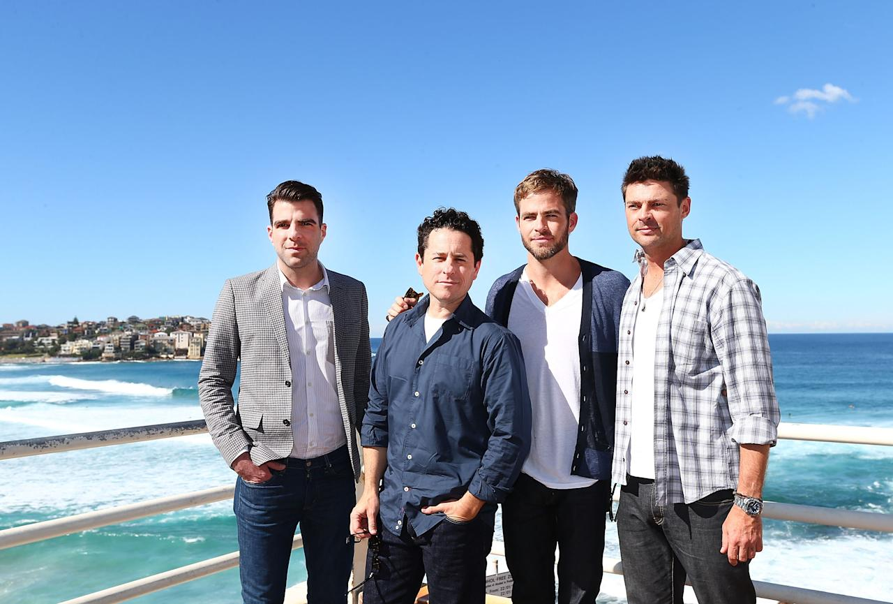 "SYDNEY, AUSTRALIA - APRIL 22:  Zachary Quinto, J.J. Abrams, Chris Pine and Karl Urban pose at Bondi Beach at the ""Star Trek Into Darkness"" photo call on April 22, 2013 in Sydney, Australia.  (Photo by Marianna Massey/Getty Images for Paramount Pictures International)"