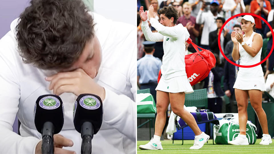 Ash Barty, pictured here applauding as Carla Suarez Navarro farewelled Wimbledon for the last time.