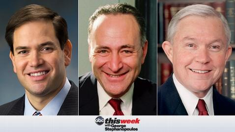 thisweek rubio schumer sessions 130412 wblog Coming Up on This Week: Sen. Marco Rubio, Sen. Charles Schumer, and Sen. Jeff Sessions
