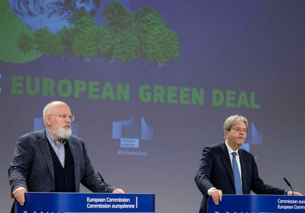 BRUSSELS, BELGIUM - JULY 15: EU Commissioner for European Green Deal - First Vice President and Executive Vice President Frans Timmermans (L) and the EU Commissioner for Economy Paolo Gentiloni (R) are talking to media in the Berlaymont building, the EU Commission headquarter on July 15, 2021 in Brussels, Belgium. EU Commissioners talked about the carbon border adjustment mechanism and the energy taxation. (Photo by Thierry Monasse/Getty Images) (Photo: Thierry Monasse via Getty Images)