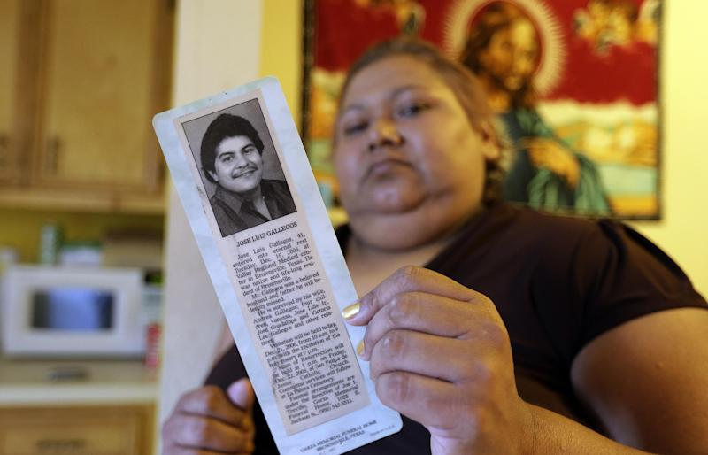 In this July 12, 2012 photo, Andrea Gallegos holds a photo of her husband Jose, who died of cancer in 2006, in Brownsville, Texas. Gallegos, who is without health insurance, is battling breast cancer. Texas already has one of the nation's most restrictive Medicaid programs, offering coverage only to the disabled, children and parents who earn less than $2,256 a year for a family of three. Without a Medicaid expansion, the state's working poor will continue relying on emergency rooms _ the most costly treatment option _ instead of primary care doctors. The Texas Hospital Association estimates that care for uninsured patients cost hospitals in the state $4.5 billion in 2010. (AP Photo/Eric Gay)