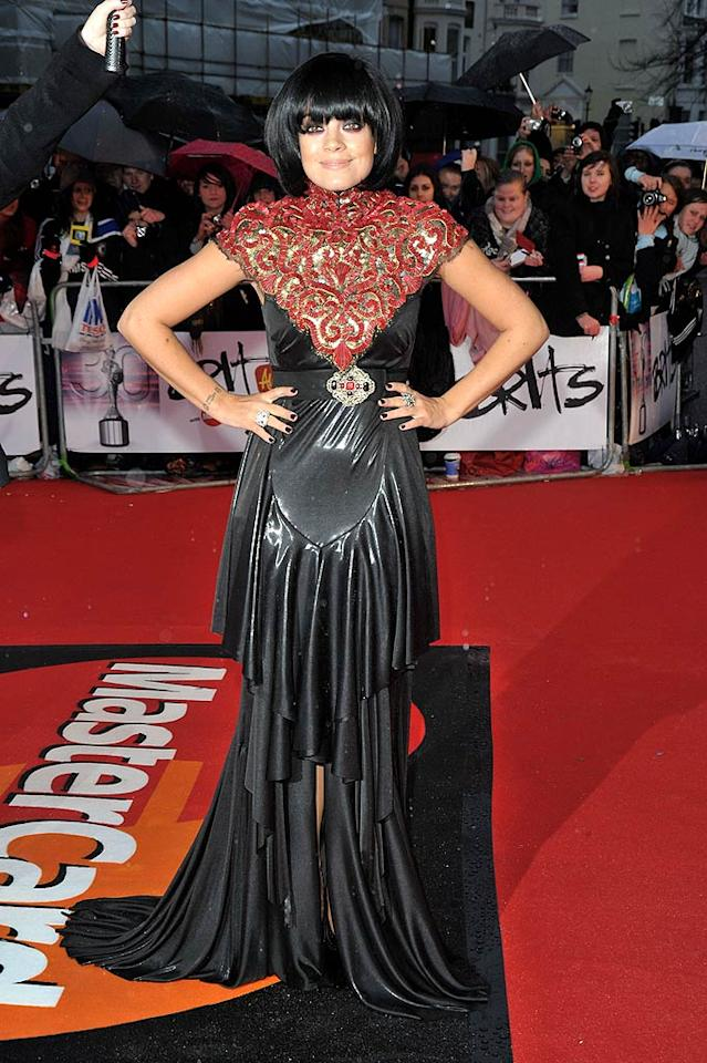 """Also in the mood to channel her inner dominatrix was foul-mouthed pop tart Lily Allen, who arrived at the 2010 Brit Awards in a torturous Chanel creation and Anna Wintour-esque bob. Jon Furniss/<a href=""""http://www.wireimage.com"""" target=""""new"""">WireImage.com</a> - February 16, 2010"""