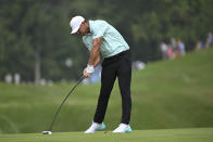 Brooks Koepka hits from the fourth fairway during the third round of the BMW Championship golf tournament, Saturday, Aug. 28, 2021, at Caves Valley Golf Club in Owings Mills, Md. (AP Photo/Terrance Williams)